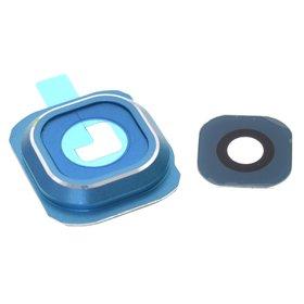 Стекло камеры для Samsung Galaxy S6 Duos SM-G920FD синий с рамкой