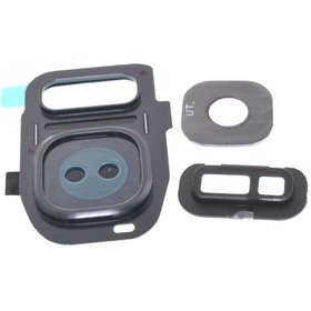 Стекло камеры для Samsung Galaxy S7 (SM-G930FD) черный с рамкой