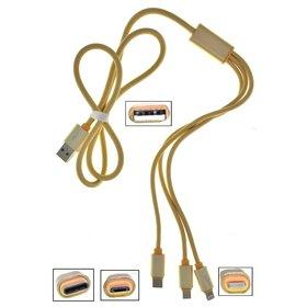 DATA кабель (Lightning, micro USB, USB Type-C) 3 в 1 золотой