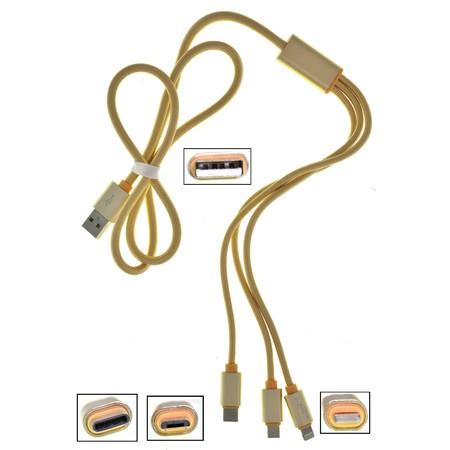 DATA кабель (Lightning, micro USB, USB Type-C) 3 в 1 1m золото