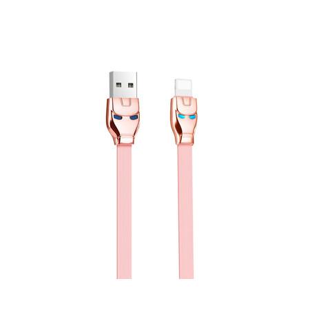 DATA кабель USB - Lightning HOCO U14 Iron Man 1,2m розовый