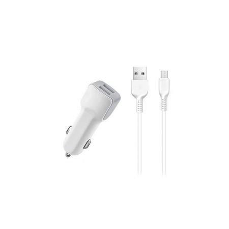 Зарядка АЗУ - 2 х USB / 5V 2,4A + кабель MicroUSB белый для LG K3 LTE K100DS