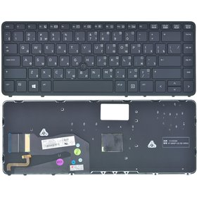 Клавиатура HP EliteBook 840 G1 черная с черной рамкой с подсветкой