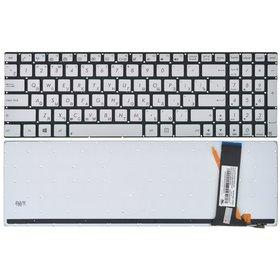 0KNB0-6120BR00 Клавиатура серебристая без рамки с подсветкой