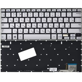 Клавиатура для Samsung NP730U3E серебристая с подсветкой