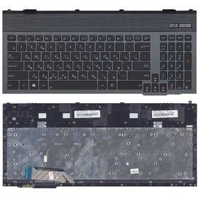 Клавиатура для Asus G55 черная с серой рамкой с подсветкой