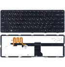 Клавиатура черная с черной рамкой с подсветкой для HP Pavilion dm4-1000