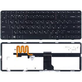 Клавиатура для HP Pavilion dm4-1000 черная с черной рамкой с подсветкой