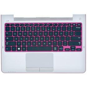 Клавиатура для Samsung NP530U3B черная с розовой рамкой (Топкейс серебристый, английская раскладка)