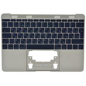 Клавиатура для MacBook A1534 (EMC 2746) 2015 черная (Топкейс золотой)
