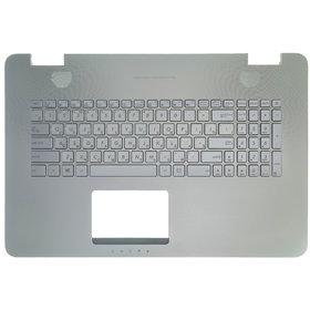Клавиатура для ASUS N751JX серебристая с подсветкой (Топкейс серебристый)