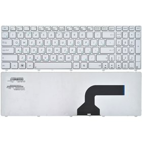 0KNB0-602ABG00 Клавиатура белая с бело - синей рамкой