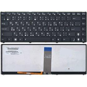 Клавиатура для Asus U20 черная с черной рамкой с подсветкой