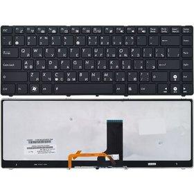 Клавиатура для Asus UL30 черная с черной рамкой с подсветкой