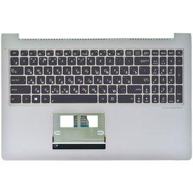 Клавиатура для Asus UX52 черная с подсветкой (Топкейс серебристый)