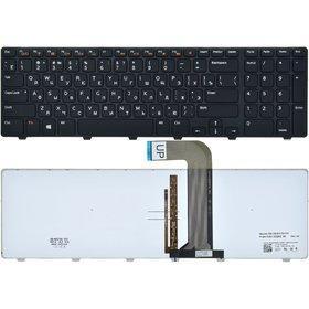 Клавиатура для Dell Inspiron 17R (N7110) черная с черной рамкой с подсветкой