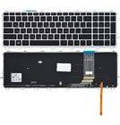 Клавиатура для HP ENVY 15-j черная с серебристой рамкой с подсветкой