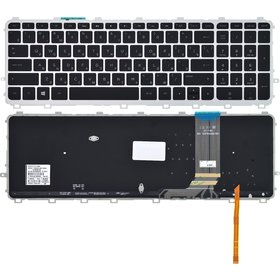 Клавиатура черная с серебристой рамкой с подсветкой HP ENVY 17-j025sr
