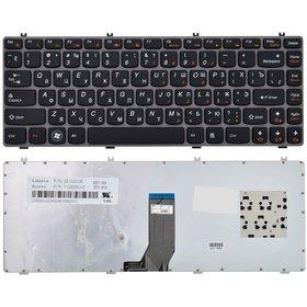 Клавиатура для Lenovo IdeaPad Y470 черная с серой рамкой