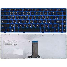 Клавиатура для Lenovo G470 черная с голубой рамкой