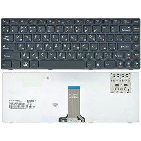 Клавиатура для Lenovo IdeaPad Y480 черная с черной рамкой