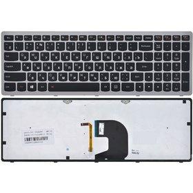Клавиатура для Lenovo IdeaPad Z500 черная с серой рамкой с подсветкой