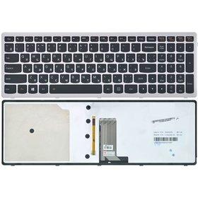 Клавиатура для Lenovo IdeaPad U510 черная с серебристой рамкой с подсветкой