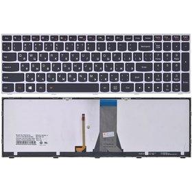 Клавиатура для Lenovo G50-30 (G5030) черная с серой рамкой с подсветкой