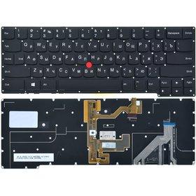 Клавиатура для Lenovo ThinkPad Edge E445 черная без рамки с подсветкой (Управление мышью)
