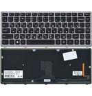 Клавиатура для Lenovo IdeaPad Z400 черная с серой рамкой с подсветкой