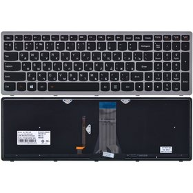 25211049 Клавиатура черная с серой рамкой с подсветкой