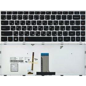 Клавиатура для Lenovo Flex 2-14 (Flex 2 14) черная с серой рамкой с подсветкой