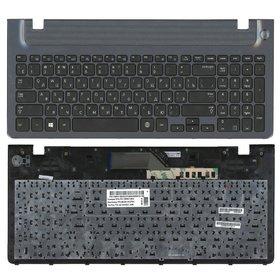 Клавиатура для Samsung NP350V5C черная с голубой рамкой