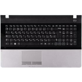 Клавиатура для Samsung NP300E7A черная с черной рамкой (Топкейс серебристый)