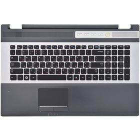 Клавиатура для Samsung RC710 черная с серебристой рамкой (Топкейс черный)