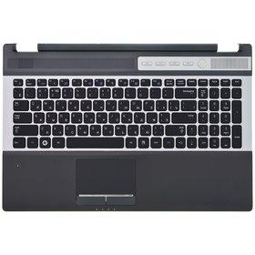 Клавиатура для Samsung RF510 черная с серебристой рамкой (Топкейс черный)
