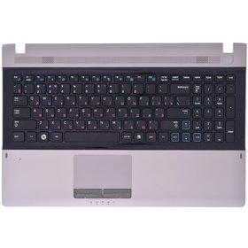 Клавиатура для Samsung RV511 черная (Топкейс серебристо-розовый)