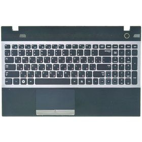 Клавиатура для Samsung NP305V5A черная с серой рамкой (Топкейс черный)