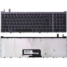 Клавиатура для Sony VAIO VGN-AW черная с серебристой рамкой