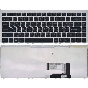 Клавиатура черная с серебристой рамкой Sony VAIO VGN-FW5ERF/H (PCG-3J1V)