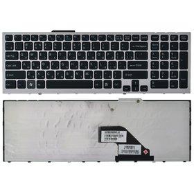 Клавиатура для Sony VAIO VPCF11 черная с серебристой рамкой