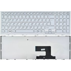 Клавиатура для Sony VAIO VPCEE белая с белой рамкой