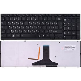Клавиатура для Toshiba Satellite A660 черная с черной текстурированной рамкой с подсветкой