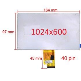 """Дисплей 7.0"""" / шлейф 40 pin 1024x600 (97х164мм) 3mm / YH070IF40H-B"""
