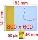 """Дисплей 8.0"""" / шлейф 50 pin 800x480 (141x183mm) 3mm / TM 080 REV.0 / Провод на подсветку"""