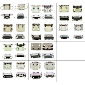 Набор разъемов micro USB для телефонов и планшетов Samsung (самые популярные 22 вида по 2 штуки)