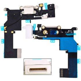 Шлейф / плата Apple Iphone 5S 821-1596-A на системный разъем / белый В сборе с микрофоном