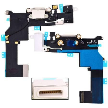 Шлейф / плата Apple iPhone 5S 821-1596-A на системный разъем (нижняя плата) / белый В сборе с микрофоном