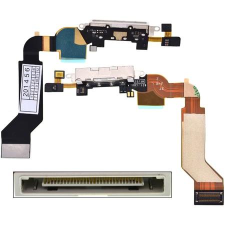 Шлейф / плата Apple iPhone 4S 821-1903-A на системный разъем (нижняя плата) / белый