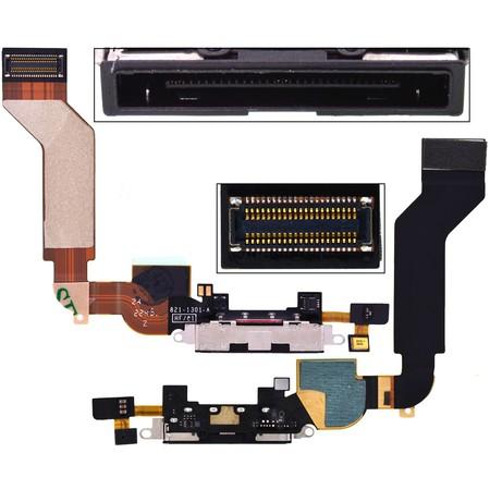Шлейф / плата Apple iPhone 4S 821-1301-A на системный разъем (нижняя плата) / черный